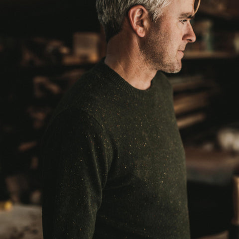 The Hardtack Sweater in Olive Cashmere Donegal - alternate view