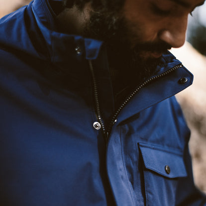 The fit model showing the front details of the Hawkins Jacket