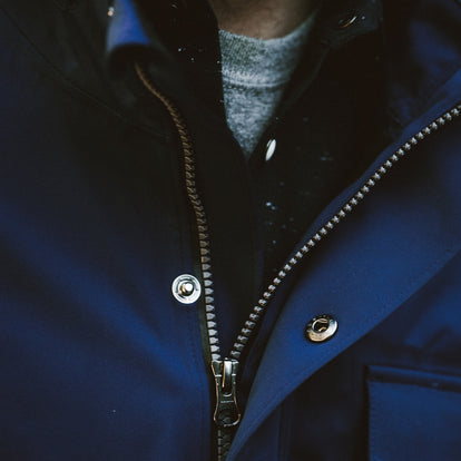 Close up of the fit model in his Hawkins jacket