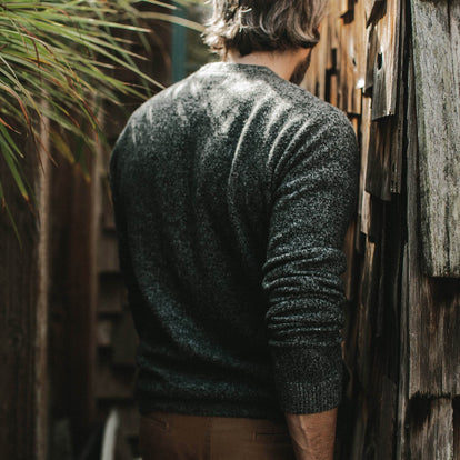 Our fit model in the Lodge Sweater in his backyard