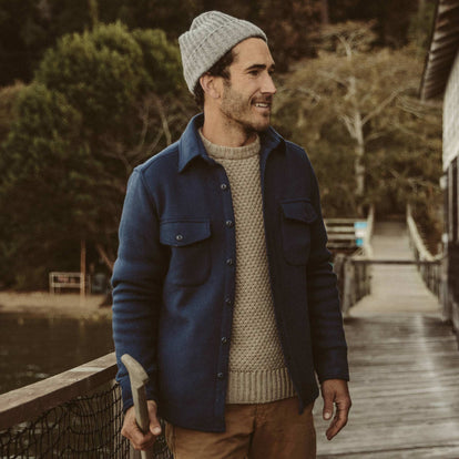 Our fit model wearing the Maritime Shirt jacket on the dock