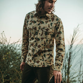 Our fit model wearing the custom camo print yosemite