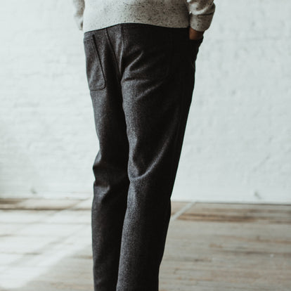 Our fit model wearing the Camp Pant in Charcoal Wool in Sea Ranch.