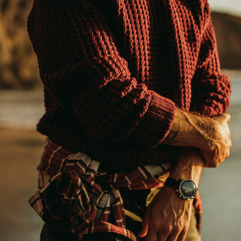 The Fisherman Sweater in Maroon Waffle - alternate view