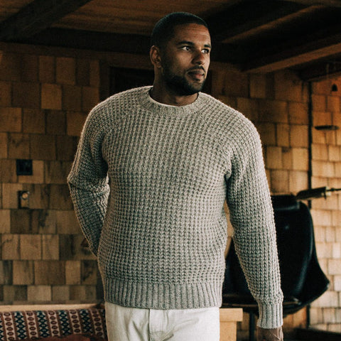 The Fisherman Sweater in Natural Waffle - alternate view