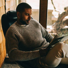 Our fit model wearing The Fisherman Sweater in Natural Waffle