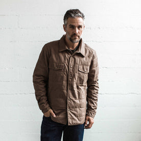 Our fit model wearing The Garrison Shirt Jacket in British Khaki Dry Wax