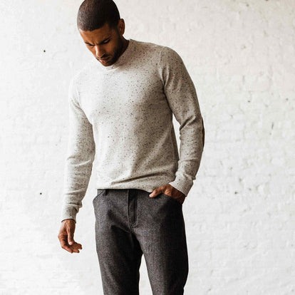 our fit model wearing The Hardtack Sweater in Polar Yak Donegal
