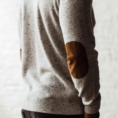 Our fit model in The Hardtack Sweater in Polar Yak Donegal in San Francisco, CA.