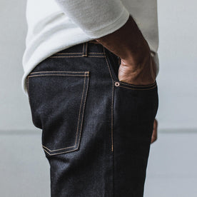 Our fit model wearing The Democratic Jean in Yamaashi Orimono Recover Selvage