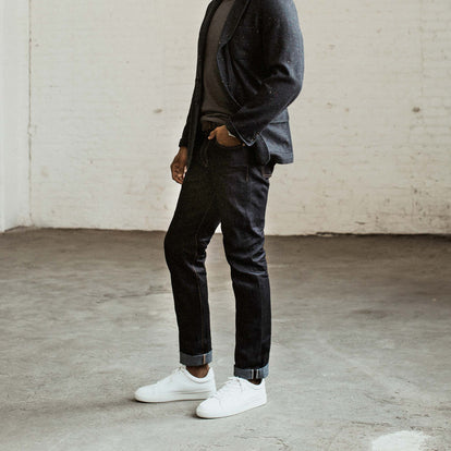 Our fit model wearing The Slim Jean in Japanese Recover Selvage