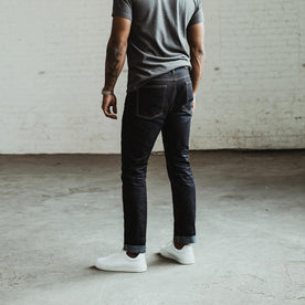 our fit model wearing The Slim Jean in Yamaashi Orimono Recover Selvage