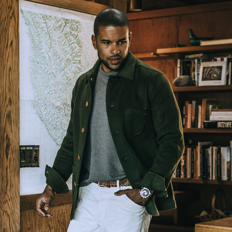 The Ojai Jacket in Olive Wool - alternate view