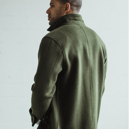 Our fit model wearing The Ojai Jacket in Olive Wool.