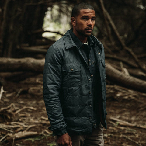 The Garrison Shirt Jacket in Navy Dry Wax - alternate view