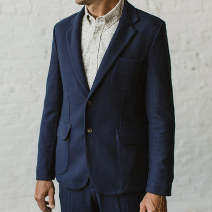 Our fit model wearing The Telegraph Jacket in Navy Boiled Wool by Taylor Stitch.