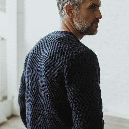 Our fit model wearing The Wave Sweater in Navy