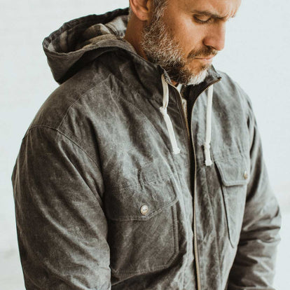 Our fit model wearing The Winslow Parka in Slate Wax Canvas.