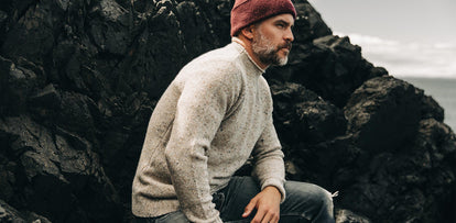 our guy wearing The Hemingway Sweater in Natural Donegal