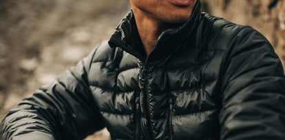 our guy wearing the TS MW Jacket—cropped shot of chest