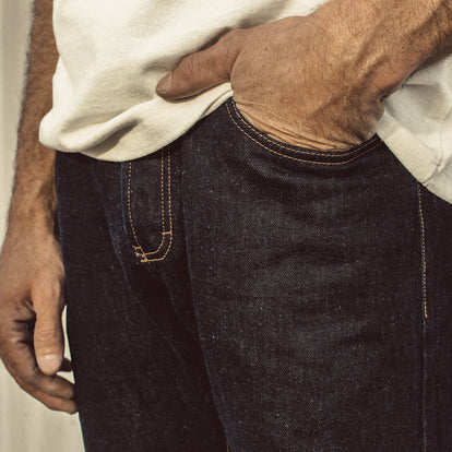 Our fit model wearing The Democratic Jean in Linen Denim.