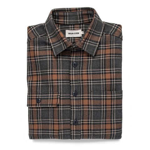 The Moto Utility Shirt in Charcoal & Rust Plaid - featured image