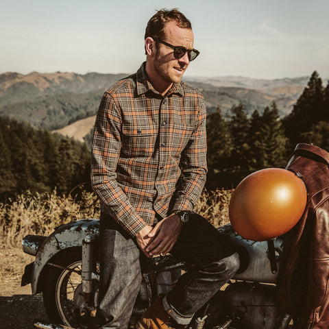 The Moto Utility Shirt in Charcoal & Rust Plaid - alternate view