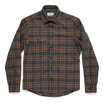 The Moto Utility Shirt in Charcoal & Rust Plaid