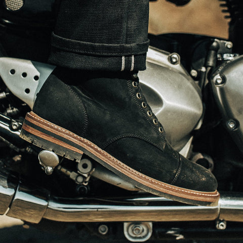 The Moto Boot in Black Waterproof Nubuck - alternate view