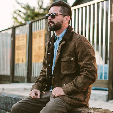 The Rover Jacket in Oak Herringbone Waxed Wool - alternate view