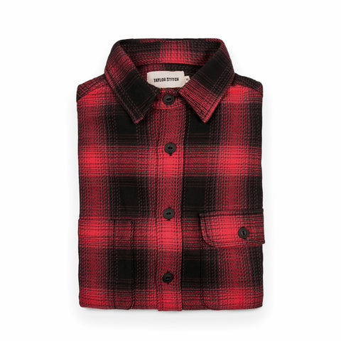 The Moto Utility Shirt in Red & Black Shadow Plaid - featured image