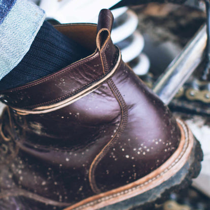 The Cap Toe Moto Boot in Brown Steerhide: Alternate Image 3