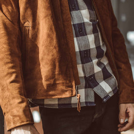 The Moto Jacket in Tobacco Weatherproof Suede: Alternate Image 4