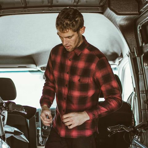 The Moto Utility Shirt in Red & Black Shadow Plaid - alternate view