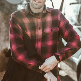 Our fit model wearing the Moto Utility Shirt in Red & Black Shadow Plaid
