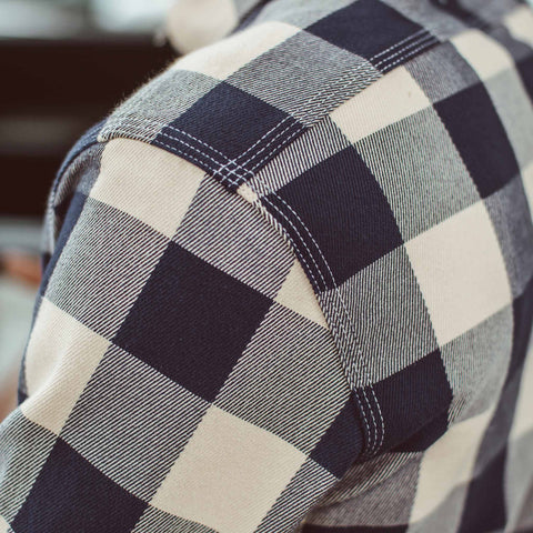 The Moto Utility Shirt in Natural & Navy Buffalo Plaid - alternate view