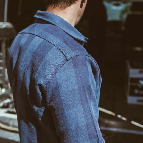 The Moto Utility Shirt in Royal & Navy Buffalo Plaid - alternate view