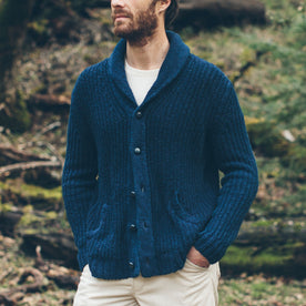 The Shawl Cardigan in Indigo Dipped Cotton: Alternate Image 1