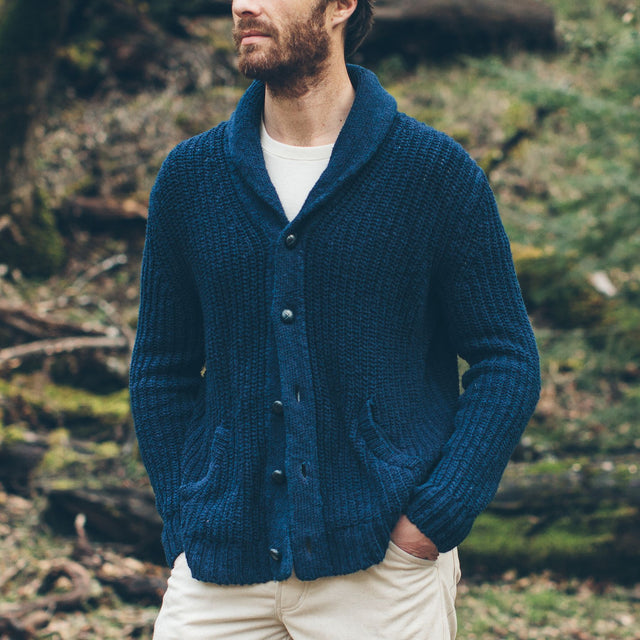 The Shawl Cardigan in Indigo Dipped Cotton