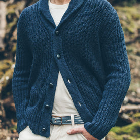 The Shawl Cardigan in Indigo Dipped Cotton: Alternate Image 2
