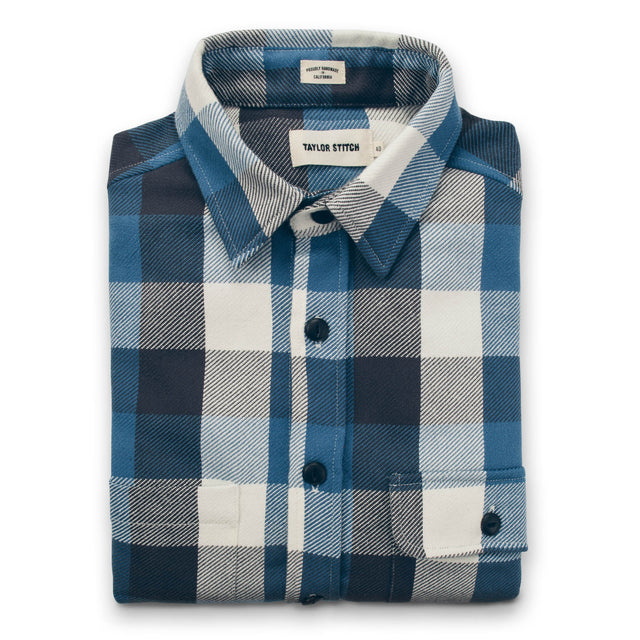 The Moto Utility Shirt in Blue Buffalo Plaid