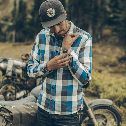 The Moto Utility Shirt in Blue Buffalo Plaid - alternate view
