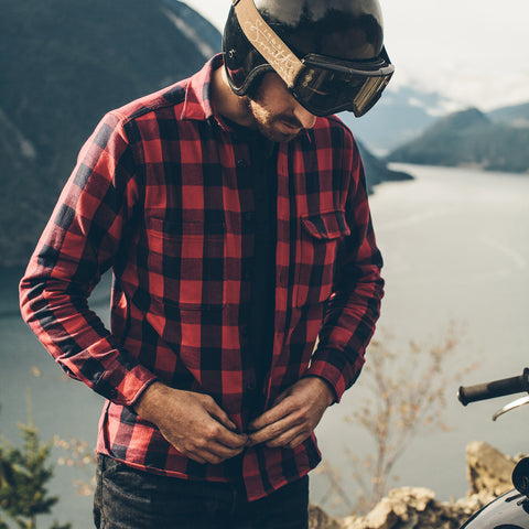 The Moto Utility Shirt in Red Buffalo Plaid - alternate view