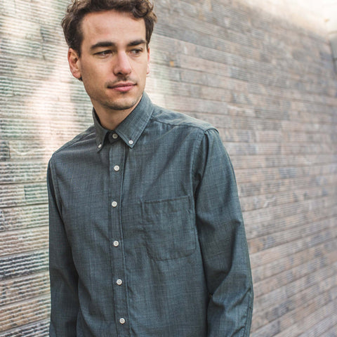 The Merino Jack in Stone Green Chambray - alternate view
