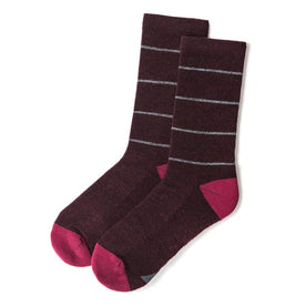 The Merino Sock in Maroon Stripe: Featured Image