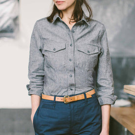 The Studio Shirt in Charcoal Everyday Chambray: Alternate Image 3