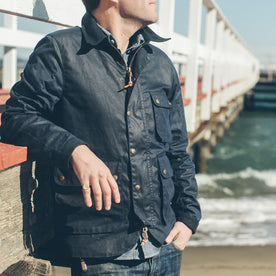 The Rover Jacket in Navy Waxed Cotton: Alternate Image 1