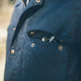 The Rover Jacket in Navy Waxed Cotton: Alternate Image 2