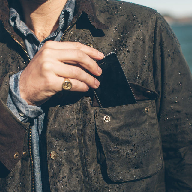 The Rover Jacket in Dark Olive Waxed Cotton