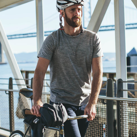 The Mercerized Merino Tee in Heather Grey - alternate view